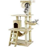 """Go Pet Club 62"""" Cat Tree Condo Furniture Beige Color"""