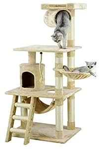 Go Pet Club 62u0026quot; Cat Tree Condo Furniture Beige Color