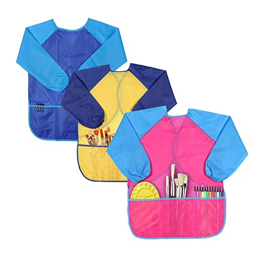 KateDy Waterproof Kids Art Smock - 3 Pack Children Artist Painting Aprons Long Sleeve with 3 Pockets,Childs Arts & Crafts DIY Painting Drawing Apron Play Set For 2-9 Year -