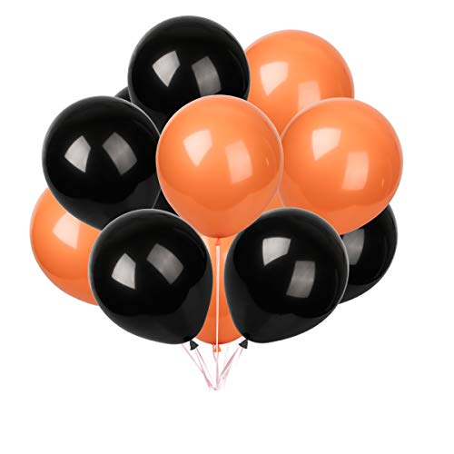 Latex Balloons 100 pcs 10 inch : Black and Orange Latex Balloons