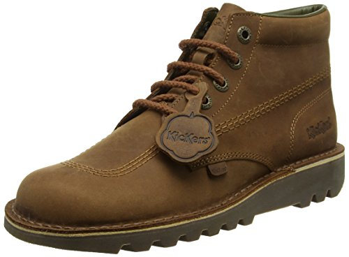 Kickers Mens Brown Leather Kick Hi Boots-UK 10 - Kickers Shoes Boots