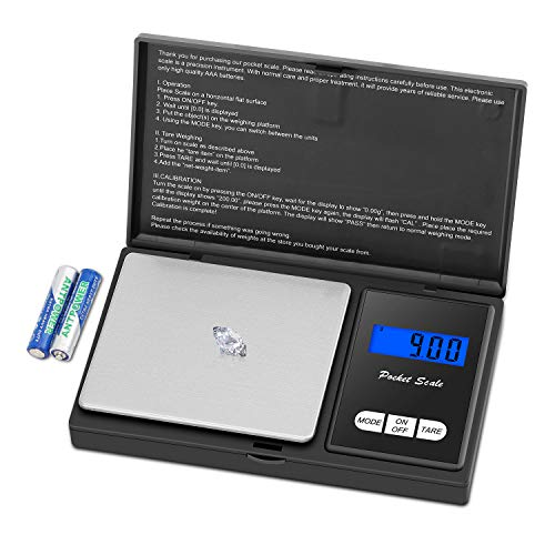 Zibet Digital Pocket Scale Gram Scale Jewelry Scale,500g by 0.01g,Kitchen Food Scale,Tare and Auto off,7 Units,LCD…