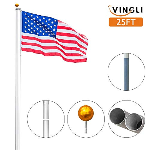VINGLI Upgraded Sectional 25FT Flagpole, Aluminum Outdoor Halyard Flag Pole, Durable Kit Free 27~33mph 3'x5' USA American Flag as Gift, for Residential or Garden