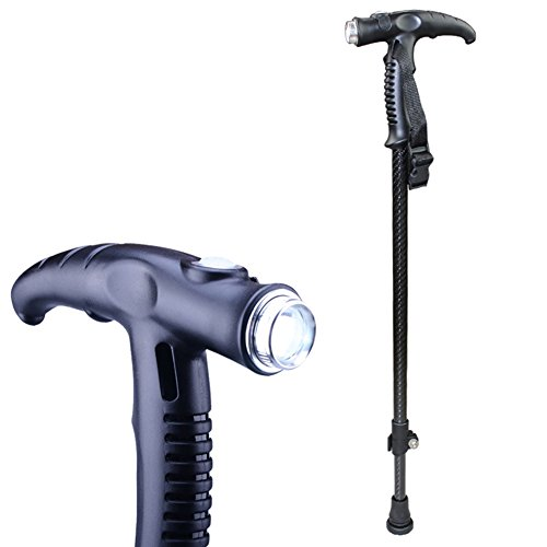 (TSAR003 Seniors Upscale Super Light Carbon Fiber Crutches With Light Adjustable Non-Slip Cane USB Charging Travel Walking Stick)