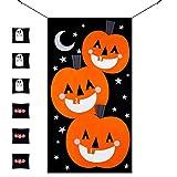 MACTING Pumpkin Bean Bag Toss Games Set + 6pcs Bean Bags (3pcs Ghosts 3pcs Bats) with Gift Bag Halloween Indoor Outdoor Throwing Games for Kids Halloween Party Decoration