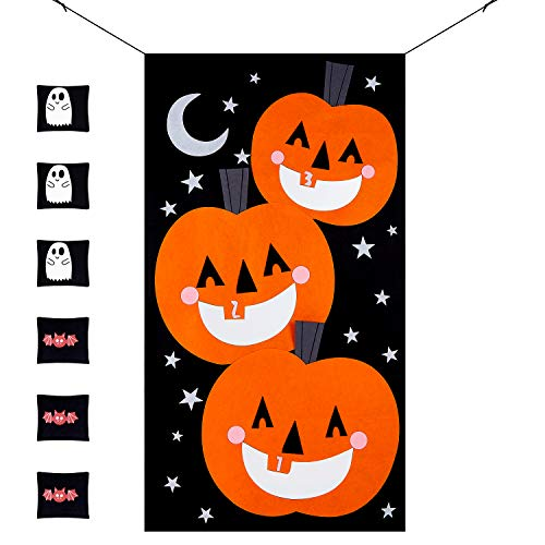 MACTING Pumpkin Bean Bag Toss Games Set + 6pcs Bean Bags (3pcs Ghosts 3pcs Bats) with Gift Bag Halloween Indoor Outdoor Throwing Games for Kids Halloween Party Decoration]()