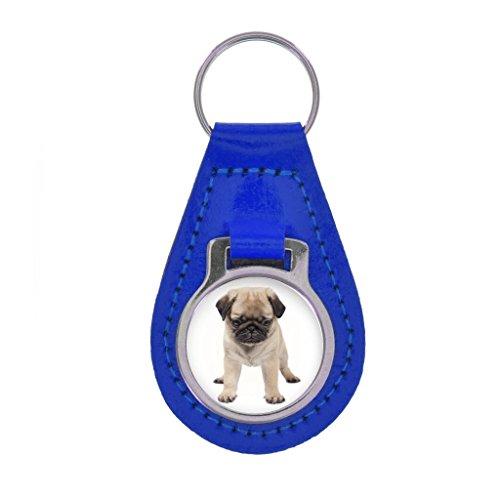 Pug PUPPY Image Keyring Gift Boxed - ROYAL BLUE LEATHER