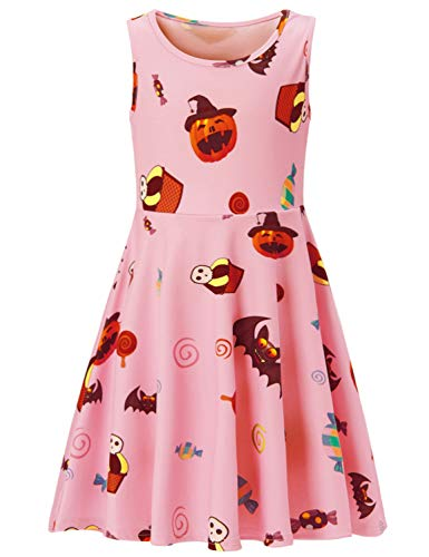 (ALOOCA Halloween Pumpkin Bat Candy Print Sleeveless Midi A-Line Tank)