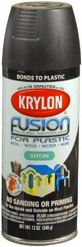 Krylon K02421007 Fusion for Plastic Spray Paint, Satin Black