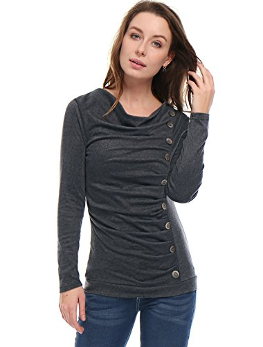 Allegra K Women's Cowl Neck Long Sleeves Buttons Decor Ruched Top Dark Gray M (US - Straight Wool Leg Leggings
