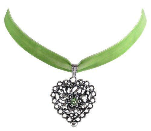 Trachtenschmuck Dirndl Herz mit Edelweiss Kropfband Samt - grün / hellgrün - Swarovski Elements Kristall - Farbe wählbar