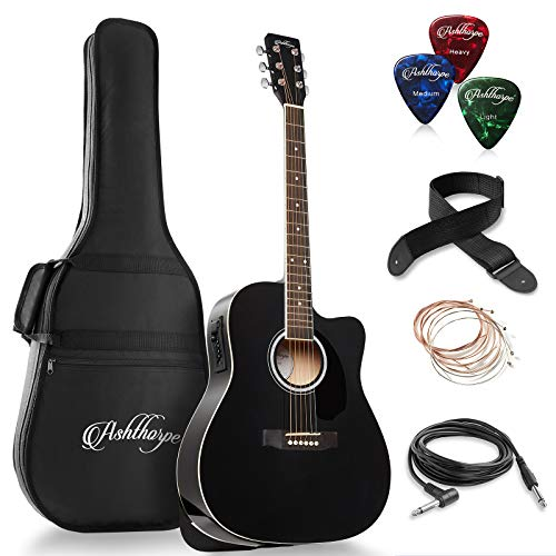 Ashthorpe Full-Size Dreadnought Cutaway Acoustic-Electric Guitar Bundle - Premium Tonewoods - Black (Guitars Electric Acoustic)