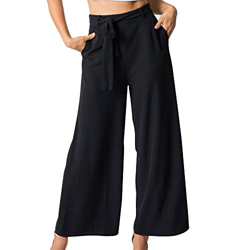 Women's Vintage Casual Loose Culottes High Waisted Wide Leg Belted Palazzo Pants Black XL (Belted Gaucho Pants)
