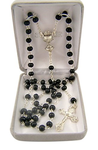 First Communion Black Petite Glass Prayer Bead Rosary Necklace with Chalice Centerpiece, 18 Inch ()