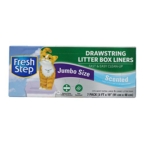 Fresh Step Drawstring Cat Litter Box Liners, Scented, Jumbo Size, 36″ x 19″ – 7 Count | Kitty Litter Bags