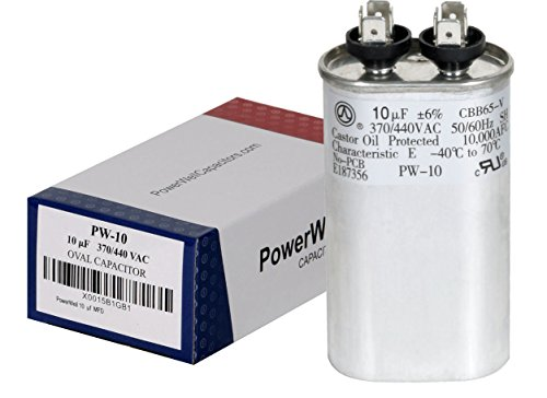 PowerWell 10 uf MFD 370 or 440 VAC Oval Run Capacitor PW-10 for Fan Motor Blower Condenser in Air Handler Straight Cool or Heat Pump Air Conditioner - Guaranteed to Last 5 Years (440v Capacitor)
