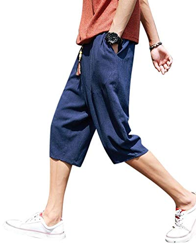 Elastico Solid Uomo Casual Allentato Ragazzi Navy Lino Harem Pants Bermuda Summer Bloomers Casual Solido Vita 8xBwCqP