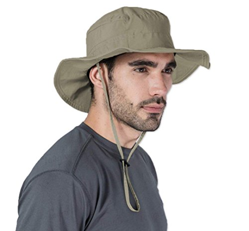 Boonie Safari Sun Hat for Men & Women - UPF 50 Sun Protection - Wide Brim Summer Hat. Waterproof for Fishing, Hiking, Camping, Boating & Outdoor Adventures. Moisture Wicking Nylon Keeps You Cool