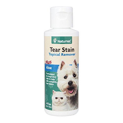 NaturVet Tear Stain Topical Remover Plus Aloe for Dogs and Cats, 4 oz Liquid, Made in USA