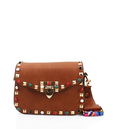 For the Womens Brande fashionable Craze Strap Brown Multicolored Long London Body Women cross handbag Bag Bags bags shoulder Shoulder Strap Long Ladies women's awwqxAP6
