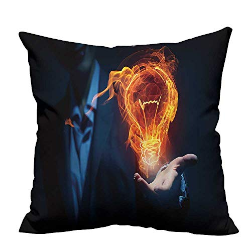 YouXianHome Modern Fashion Cushion Cover Idea Concept with Glowing Bulb Symbol in Palm on Dark Background Resists Dust Mites(Double-Sided Printing) 31.5x31.5 -