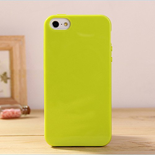 iPhone 6S Plus (5.5 inch) Jelly Case, ANLEY Candy Fusion Series - [Shock Absorption] Classic Jelly Silicone Case Soft Cover for Apple iPhone 6 Plus (Lime Green) + Free Screen Protector