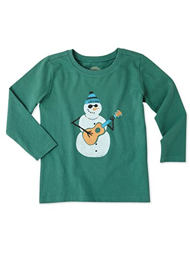 Life is good T Ls Toddler Tee Jamming' Snowman, Forest Green, 2T