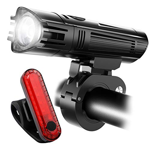 Ascher Ultra Bright Rechargeable Bike Light Set, Powerful Lumens Bicycle Headlight Free Tail Light, LED Front and Back Rear Lights Easy to Install for Kid Men Women Road Cycling Safety Flashlight