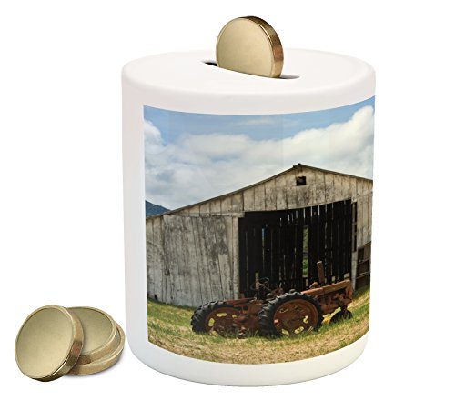 (Lunarable Rustic Piggy Bank, Old Wooden Barn with Rusted Tractor Hillside Enclosed with Wooden Fence and Trees, Printed Ceramic Coin Bank Money Box for Cash Saving, Green White)