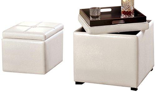 Furniture of America Dellos Leatherette Storage Ottoman with Tray and Nesting Ottoman, White