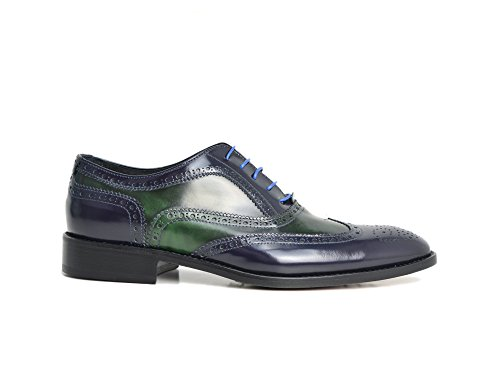 Ukendt Fred - Blå Og Grøn Oxford Sko Deres Egne Tilpassede Luksus Læder Mænd Blå Og Grøn Oxford Sko, 100% Håndlavet I Italien.