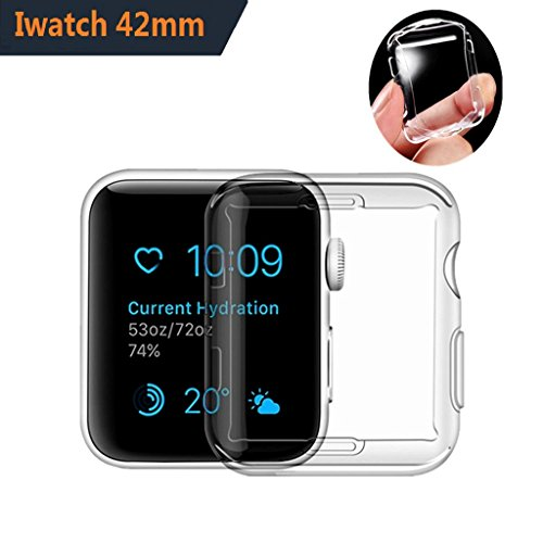 For Apple Watch Screen Protector 42mm | Soft TPU Iwatch Case | Full Cover Protection Ultra-Thin Clear Cover For Apple watch Series 3 2