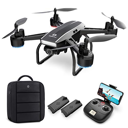 DEERC Drone with Camera for Adults 2K Ultra HD FPV Live Video 120° Wide Angle, Altitude Hold, Headless Mode, Gesture…