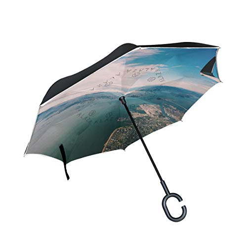Reverse Umbrella Sea Coast Water Ocean Windproof Double Layer for Car