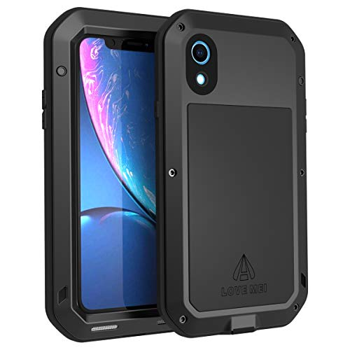 (For iPhone XR Case, iPhone XR Case Metal Shockproof Cellphone Cover for iPhone XR with Screen Protector Heavy Duty Metal Rugged Case Full Body 360 Degrees Protection for 6.1 Inches XR Case (Black) )