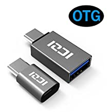 ICZI USB Type C to Micro USB OTG Adapter + USB C to USB 3.0 Adapter, Aluminum Body for Samsung Galaxy S8/S8 Plus/Note 8, Huawei Mate 9/Mate 10, Nexus 5X/6P, LG G5/G6, HTC 10, Chromebook Pixel and More (2 Pack, Gray)