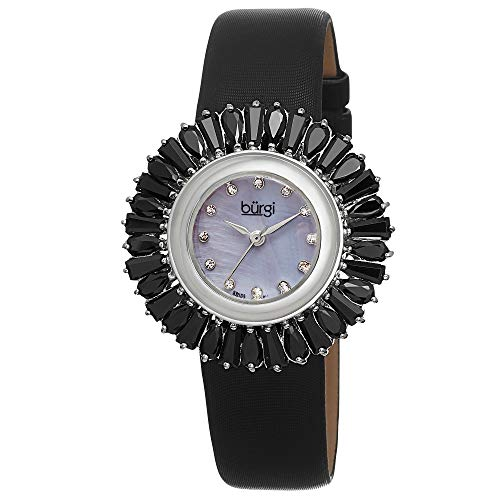 Black Patterned Dial Watch - Burgi Women's BUR092BK Black Crystal Accented Swiss Quartz Watch with Blue Mother of Pearl Dial and Black Fabric Strap