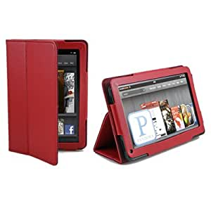GMYLE (TM) Red Flip Book Folio Slim Fit PU Leather Carry Case Stand Cover Pouch for Amazon Kindle Fire 7 inch Tablet