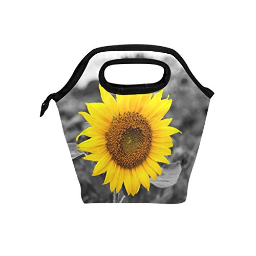 Naanle Yellow Sunflower Insulated Zipper Lunch Bag Cooler Tote Bag for Adult Teens Kids Girls Boys Men Women, Floral Flower Lunch Boxes Lunchboxes Meal Prep Handbag for Outdoors School Office
