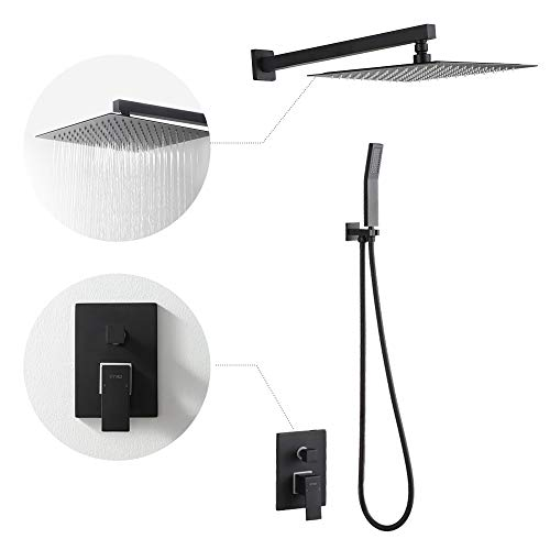 STIGES Shower System With 12 Inch Rainfall Shower Head,Handheld Shower Head and Shower Faucet Valve, Bathroom Luxury Rain Mixer Shower Combo Set Wall Mounted