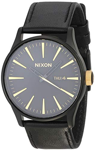 NIXON Sentry Leather A109 - Matte Black/Gold - 104M Water Resistant Men's Analog Classic Watch (42mm Watch Face, 23mm Leather Band) (Black Player Nixon)