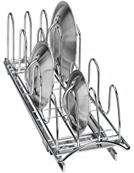 Lynk Professional Roll Out Pan Lid Holder   Pull Out Kitchen Cabinet  Organizer Rack   Chrome