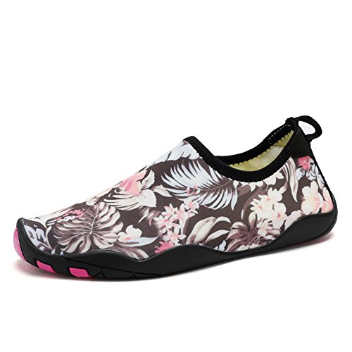 CIOR Männer Frauen Barfuß Quick-Dry Wasser Sport Aqua Schuhe mit 14 Drainage Löcher für Schwimmen, Walking, Yoga, See, Strand, Garten, Park, Fahren Flora
