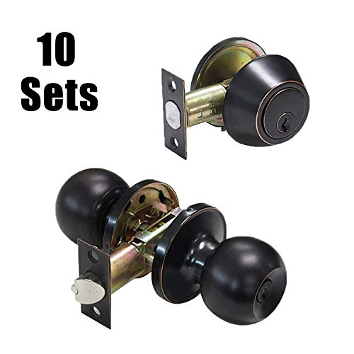 10 Sets-Oil Rubbed Bronze Entry Door Knobs with Double Cylinder Deadbolts Combo Pack, Keyed Alike Handlesets for Front and Entrance Door, Interior and Exterior Door Hardware,Contractor Pack