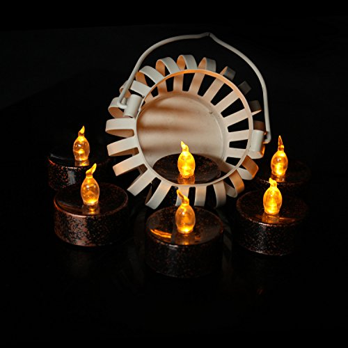 24PCS Flameless LED Tea Lights,Amber Yellow Flickering Bulb, Long Lasting Battery Operated Electric Votive Candles for Christmas Thanksgiving Easter Home Decor,Black Body,1.4 x 1.4 Inch
