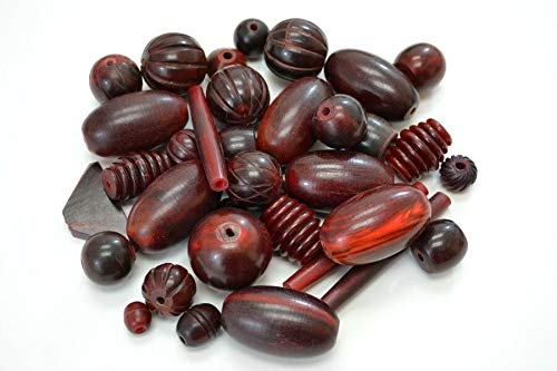 Bead Jewelry Making Art Supplies 40+ PCS Handmade RED Amber Horn Beading Beads Craft 1/2 Pound