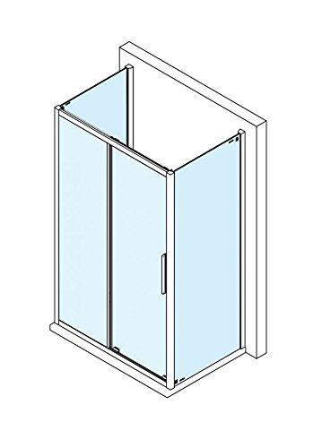 Dusche U Form 110x80 x200 cm (LxB xH), Schiebetür mit 2 Seitenwänden, Alu Hochglanz