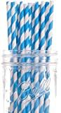 Dress My Cupcake Blue Striped Paper Straws, 25-Pack