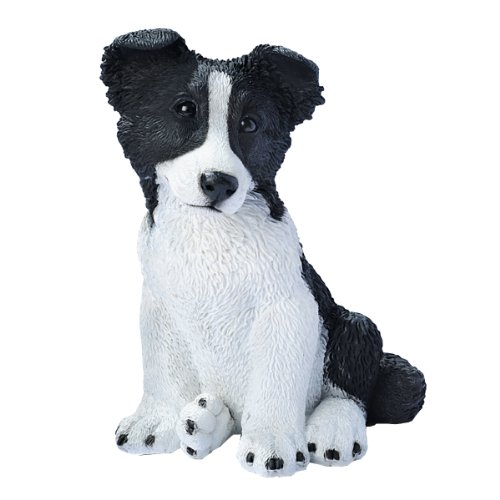 Collie Figurine Dog (Design Toscano Border Collie Puppy Dog Statue, Multicolored)