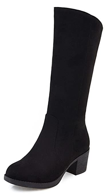 79b6386ae2c9 Aisun Women s Simple Dress Mid Chunky Heel Round Toe Pull On Mid Calf Boots  (Black